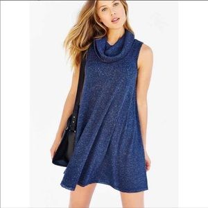 UO BDG Blue ribbed sleeveless Cowl neck dress